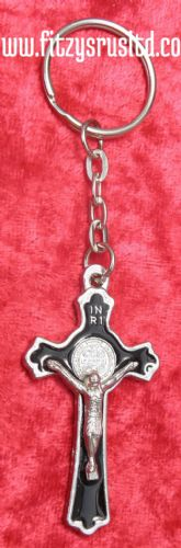 Black Crucifix Jesus Keyring Holy Cross Key Ring Religious Catholic Gift